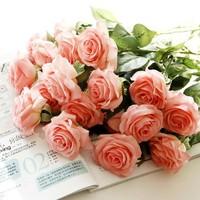 wholesale real touch feel rose artificial flower wedding party decoration home party decorative bouquet  flowers 10pcs/lot