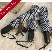 Y01 lotosblume high quality uv umbrella rain women black and white umbrellas automatic 3 folding umbrellas