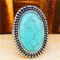 Vintage Look Tibet Alloy Silver Plated Milet Oval Turquoise Bead Adjustable Ring R302
