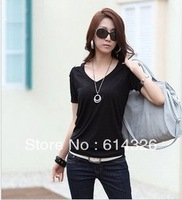 Free Shipping New Fashion Women's V-neck Shoulder Hollow Out  T-Shirts Plus Size 2XL 3XL 4XL Tops Women Clothing DH2026