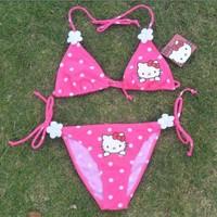 Free shipping 1set Hello Kitty swimwear kids beachwear baby bikini girls cartoon swimsuit