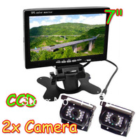 "Waterproof 2x CCD IR Car Reverse Camera with 10M cable + 7"" LCD Monitor Car Rear View Kit for Bus Long Truck Free Shipping"
