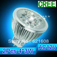 Free shipping 2pcs/lot  MR16  12W 4x3W CREE dimmable High power Spotlight LED Bulb Lamp LED Lighting