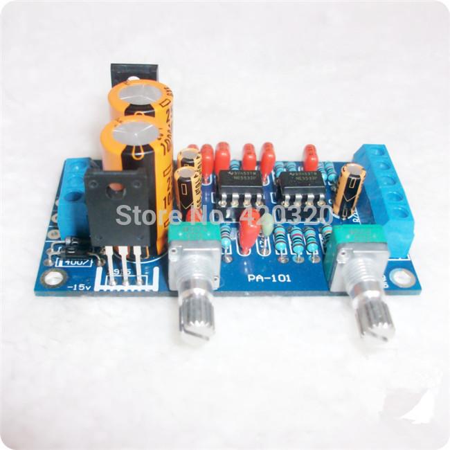 A suíte nível de graves de baixa passagem placa nível subwoofer filtro de controle de volume do kit amplificador de bordo com NE5532 frete grátis(China (Mainland))