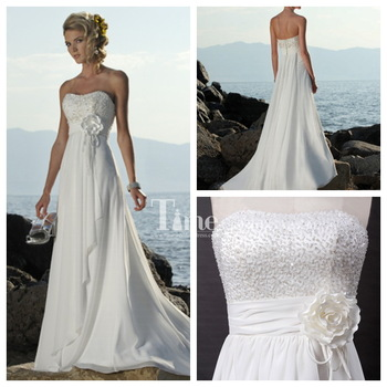 ivory/white/off white chiffon beaded flower lace-up A-line Sleeveless simple beach wedding dress custom made Time Bridal 699120