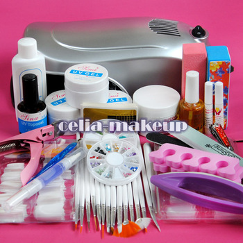 9W UV Gel Lamp Dryer LIGHT NAIL ART TIPS SET KIT Rhinestone Block Free Shipping