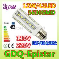 Free shipping 1x E27 E14 B22 12W=60W SMD5630 42LED 110V/220V high power LED corn light  Warm/Pure/Cool White
