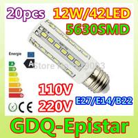 Free ship 20x 12W 42LED 5630 SMD E27 E14 B22 Corn Bulb Light Maize Lamp LED Light Bulb Lamp LED Lighting Warm/Pure/Cool White