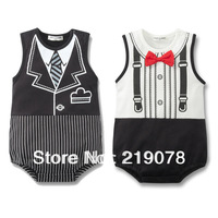 r5 Baby Romper, boy's Gentleman Design,fake bow tie, infant short sleeve climb clothes baby bodysuit jumpsuit ,Free Shipping