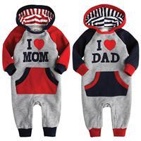 NWT Vaenait Baby Newborn Fleece Jumpsuit Onepiece Bodysuit Hoodie love Mom Dad