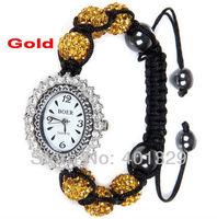 Free Shipping!!! Golden Rhinestone Disco Balls Shamballa Beads Shamballa Bracelet Watch, Gift Battery