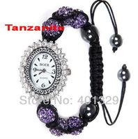 Free Shipping!!! Dazzling Charm Shamballa Bracelet Watch Micro Pave Crystal Disco Balls, Gift Battery