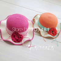 2013 retail free shipping girls summer flower  Straw hat, Kids Big Brim Sunbonnet, Fashion baby sun hat with two colours