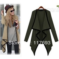 Spring and Autumn casual European style long casual irregular lapel cardigan shawl jacket women clothing Women's Fashion Slim