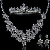 Own factory made pearl jewelry sets bridal jewelry set  tiara+necklace+earrings wedding jewelry sets wholesale