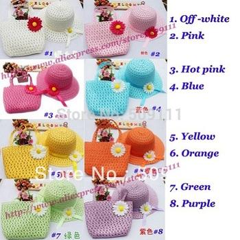 9 colours Girls straw sunhat Children Sun hat with Bag Kids Summer Hat Big Brim Sunbonnet Baby Hats 10sets/lot BH545