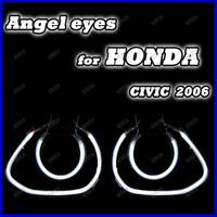 2013 One sets 4 rings + 2 Inverters CCFL angel eyes kits for Honda Civic 2006, High lumen 7000K Xenon white ccfl car headlight