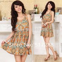 2014 New Fashion Women Clothing Summer Cute Sleeveless Crew Neck Print Chiffon Casual Ladies Mini Dress S Free Shipping 0023
