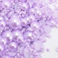 Mixed-size Pearls Purple ABS Flatback Perles Nail Art Ornaments