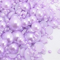 10000pcs 3-12mm Mixed Sizes Purple Pearl Cabochon Flat Back Beads ABS Perles DIY Phone Case Laptop Jewelry Free Shipping