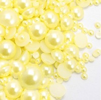 10000pcs 3-12mm Mixed Sizes Yellow Pearl Cabochon Flat Back Beads ABS Perles DIY Fashion Accessories Free Shipping
