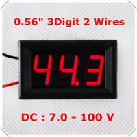 """Two Wires DC 7-100V 0.56"""" Digital Voltmeter Car voltage Panel Meter Electric bicycile car LED Display Color: red [ 4 pcs / lot]"""