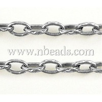 Iron Cross Chains-Platinum Color,  Come On Reel,  3.3mm wide,  5mm long,  0.7mm thick,  100m/roll