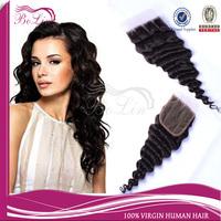Stock Order Natural Color 120% Density Brazilian Virgin Human Hair Three Part Deep wave Lace Closure
