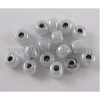 Stock Deals 6/0 Glass Seed Beads,  Ceylon Ruond,  Lt.Grey,  about 4mm in diameter,  hole: 1mm,  about 4500pcs/pound