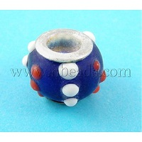 Lampwork European Beads,  Large Hole Beads,  with Silver Color Brass Core,  Rondelle,  Blue,  about 13~15mm wide