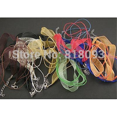 Cotton Wax Cord and Organza Ribbon, with Iron Findings, Mixed Color, about 17&quot;/strand, Cord: 1mm thick(China (Mainland))