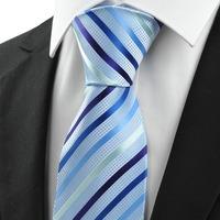 Gentleman styleLight Blue Silk  Mens Ties Classic Design Jacquard Woven Necktie for Men free shipping