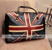 new ladies fashion zipper black bag Flag pattern Shoulder messenger Bags women lady leather handbag free shipping
