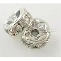 Stock Deals Middle East Rhinestone,Clear,  Brass,  Silver Metal Color,  Nickel Free,  Size: about 7mm in diameter