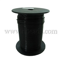 Stock Deals Cotton Wax Cord,  Black,  about 2.0mm in diameter,  about 100 yards/roll