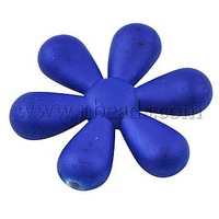 Colorful Acrylic Beads,  Rubberized Style,  Flower,  RoyalBlue,  about 35mm long,  31mm wide,  6.5mm thick,  hole: 2mm