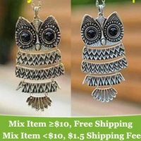 Free Shipping Korea Lovely Jewelry, Ancient Bronze Owl Necklace,oxeye black gem Ancient the Owl Sweater Chain A171