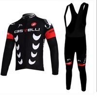 2013 new winter thermal castelli Team  Summer/Winter long sleeve Cycling Jersey/Cycling Clothing/Wear BIB Short+Short Bib Pants