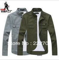new 2014 classic military style minimalist chest standard patch  placket Men's Slim thin dark green collar jacket autumn-summer