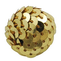 most wanted items Handmade Woven Beads,  Acrylic Bead wrapped with Paillette,  Round,  Gold,  22x20mm,  Hole: 3mm