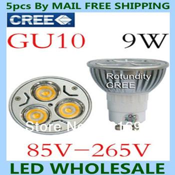 factory directly sale 5pcs/lot CREE GU10 9W 110V 220V Dimmable led Light lamp bulb led Bulb LED spotlight Warm/Pure/Cool White