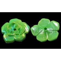 Colorful Acrylic Beads,  AB Color,  Flower,  LimeGreen,  22mm in diameter,  5mm thick,  hole: 2mm,  about 416pcs/500g