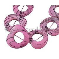 Shell Beads Strands,  Mother's Day Jewellry Making,  Spray Painted,  Pink,  Heart,  about 25mm in diameter,  4mm thick