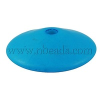 Colorful Acrylic Beads,  Frosted,  DeepSkyBlue,  Flat Round,  14mm in diameter,  6mm thick,  hole: 2mm