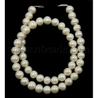Stock Deals Grade A Natural Freshwater Pearl Beads Strands,  Nice for Mother's Day Jewelry Making,  Round,  Natural Color