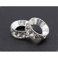 Stock Deals Brass Rhinestone Beads,  Grade A,  Rondelle,  Silver Metal Color,  Clear,  Size: about 13mm in diameter,  5mm thick