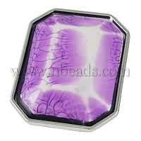 Resin Connectors/Links,  UV Plated Style,  Double holes,  Rectangle,  MediumPurple,  about 43mm long,  33mm wide