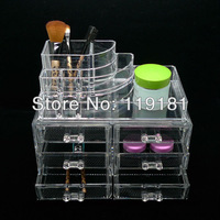 Clear Acrylic Cosmetic Organizer Makeup case Lipstick Holder Display Stand Rack+Drawers Jewelry/Jewellery STORAGE Box Crystal #8