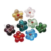 Handmade Silver Foil Glass Beads,  Flower,  Mixed Color,  Size: about 16mm in diameter,  8mm thick,  hole: 2mm