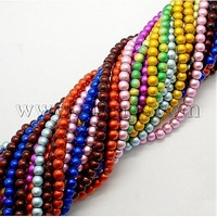 Stock Deals Drawbench Glass Bead Strands,  Spray Painted,  Round,  Mixed Color,  Size: about 6mm in diameter
